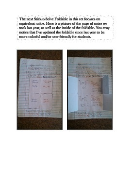 Math Interactive Notebook - Stick-n-Solve FOLDABLES Ratios - 6th Grade
