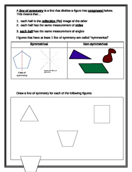 Math Interactive Notebook: Symmetry