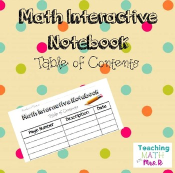 Math Interactive Notebook Table of Contents
