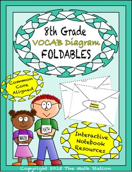 Math Interactive Notebook - Vocab Diagrams FOLDABLES 8th Grade