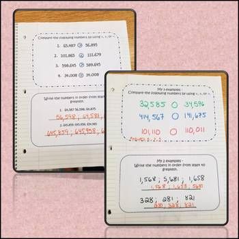 Math Interactive Notebook Writing and Comparing Number Common Core 4.NBT.2