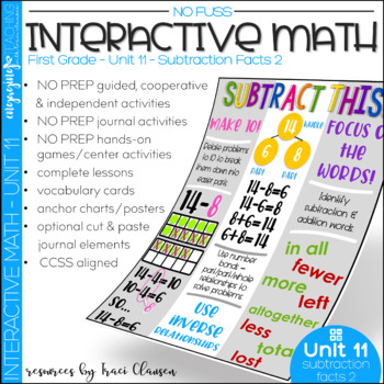 Math Interactive Notebook and MORE! 1st Grade Unit 11 Subtraction Facts 2