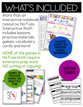 Math No Prep Interactive Notebook & MORE! 1st Grade U-14 - ADD WITH PLACE VALUE