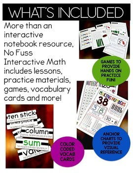 Math No Prep Interactive Notebook and MORE! 1st Grade Unit 3 Tens and Ones