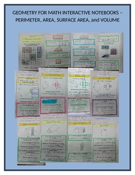 Math Interactive Notebook for Perimeter, Area, Surface Area, and Volume