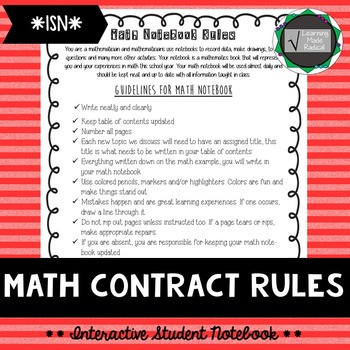 Math Interactive Student Notebook - Contract Rules
