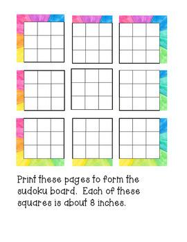 Math Interactive Sudoku Bulletin Board Watercolor