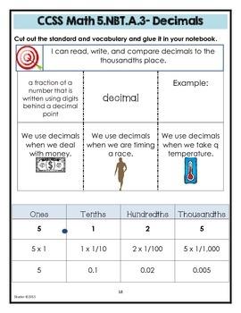 Math Interactive Notebook Printables -Grade 5