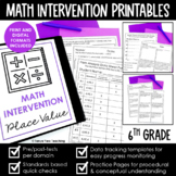 Math Intervention 6th Grade Binder YEARLONG RTI BUNDLE Dis