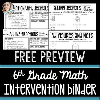 6th Grade Math Intervention Binder Free Preview