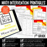 Math Intervention 7th Grade Binder YEARLONG RTI BUNDLE DIS