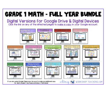 First Grade Math FULL YEAR BUNDLE with Intervention Binder Distance Learning