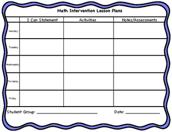 Math Intervention Lesson Plan Template