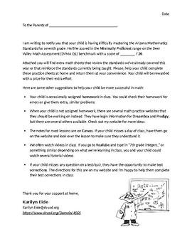 Math Intervention Letter