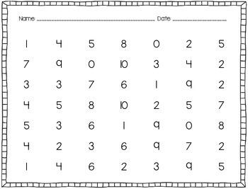 Math Intervention Packet: Number Hunt (0-20)