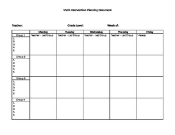 math intervention planning sheet by math resource center tpt. Black Bedroom Furniture Sets. Home Design Ideas