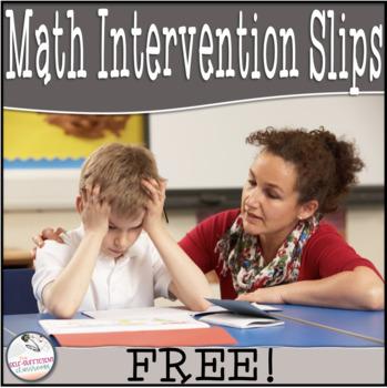 Math Intervention Slips