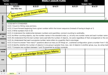 math intervention teacher common core weekly lesson plan template k 5