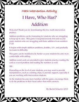 Math Intervention: Who Has It?  Addition Style