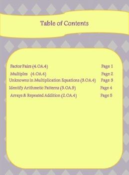 Math Intervention Worksheets 4.OA.4 3.OA.4 3.OA.9 2.OA.4