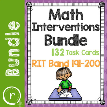 Math Interventions or Test Prep Task Card Bundle RIT Band 191-200