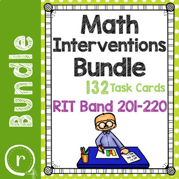 Math Interventions or Test Prep Task Card Bundle NWEA RIT Band 201-220