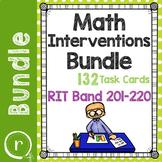 Standardized Math Test Prep Task Cards Maps RIT Band 201-220 Intervention Bundle