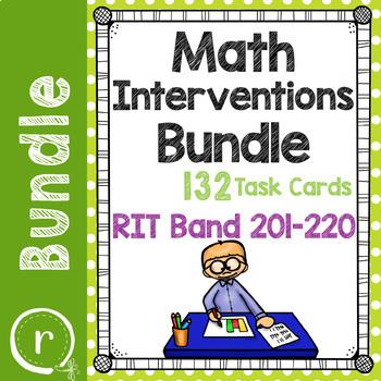 Math Interventions or Test Prep Task Card Bundle RIT Band 201-220