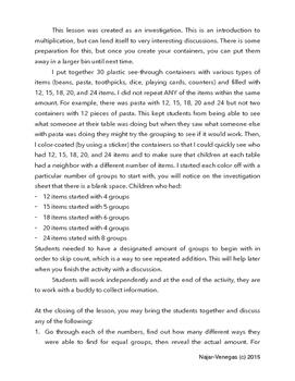 Math Investigation:Intro to Multiplication