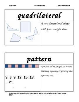 Math Investigations First Grade Unit 2 Vocabulary Cards