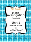 Math Investigations Study Guide {Grade 5, Unit 1}