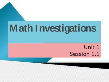 Math Investigations Unit 1 Session 1.1