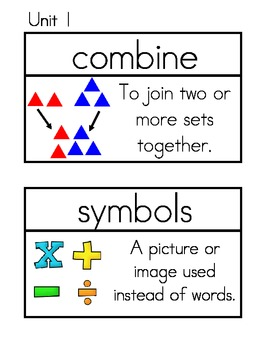 Math Investigations Vocabulary Cards for First Grade