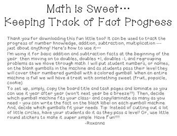 Math Is Sweet! Whole Class Gumball Math Fact Progress Tracking