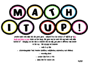"""Math It Up (A Version of """"Add It Up"""" )"""