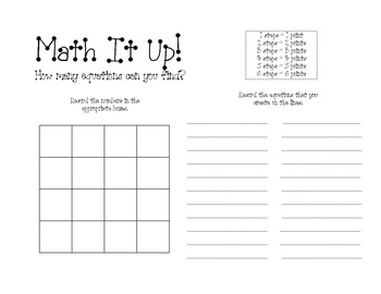 Math It Up! Game for Bulletin Board