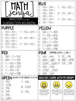Math Jenga 3-Digit Addition, Subtraction, and Rounding