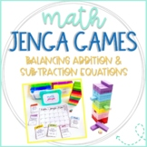 Math Jenga Game Cards for Balancing Equations with Addition and Subtraction