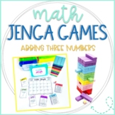 Math Jenga Game Cards for Adding 3 Numbers