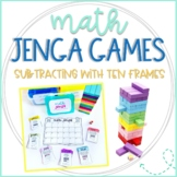 Math Jenga Game Cards for Subtraction within 20 with Ten Frames