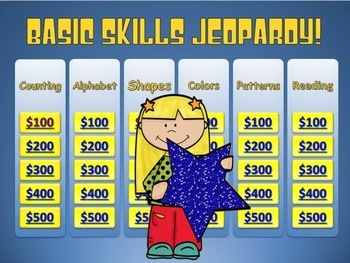 Jeopardy: Math (Add, Subtract, Clocks, Money, Patterns, Rounding) & Basic Skills