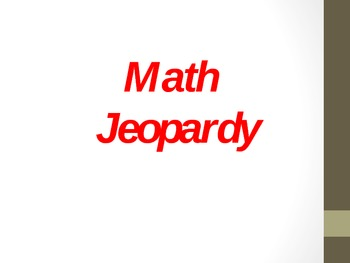 Math Jeopardy (Calendar, addition, place value), 2nd grade and 3rd grade