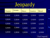 Math Jeopardy- Counting Coins