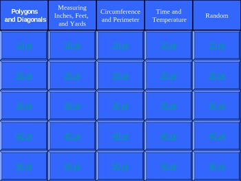 Math Jeopardy Game - Polygons, Measurements, Circumference, Time, Temperature