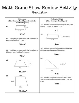6th Grade Math Game Show Review Activity: Geometry