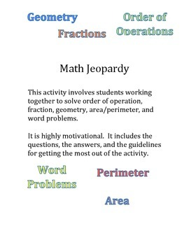 Math Jeopardy-Order of Operations, Fractions, Geometry, Area, Word Problems