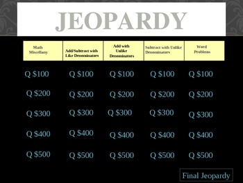 Math Jeopardy Review Game for Adding and Subtracting Fractions
