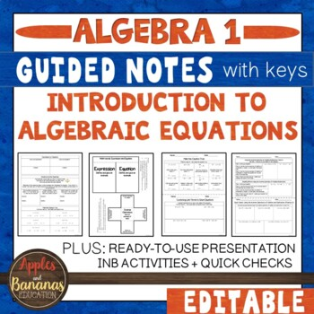Introduction to Algebraic Equations - Interactive Notebook Activities