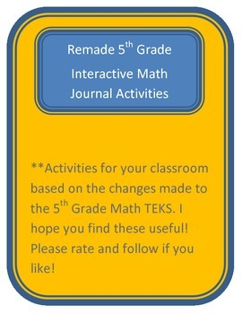 Math Journal Activities based on the new TEKS