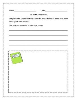 Go Math! Math Journal Activities for Grade 1, Chapter 11